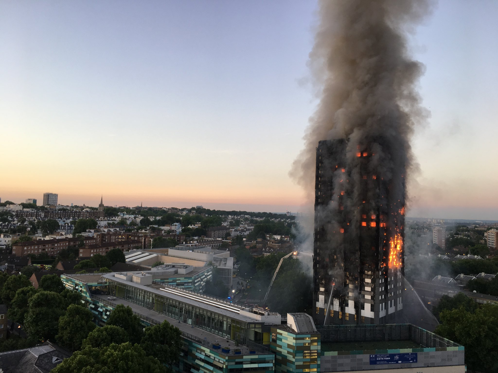 fire alarm in London's Grenfell Tower